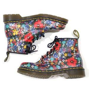Dr Martens Leather Floral Combat Boot